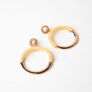 Half Metal Half Resin Ring Drop Earrings