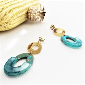 Linked Resin & Metal Ovals Drop Earrings