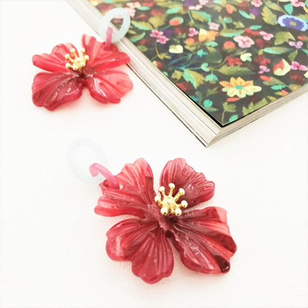 Resin Hibiscus Drop Earrings