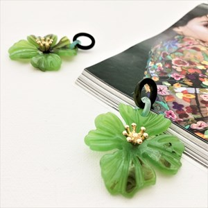 Resin Hibiscus Drop Earrings