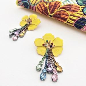 Jewel Drops Enamel Flower Earrings