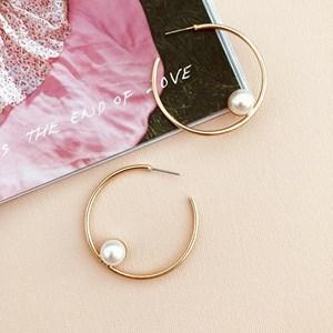 Pearl Inset Hoop Earrings
