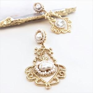 Regal Pearl Scrolls Earrings