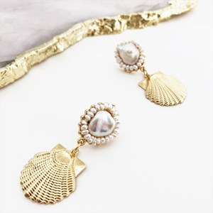 Pearl Top Moulded Shell Earrings