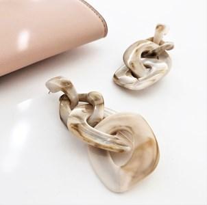 Marble Effect Linked Resin Earrings