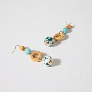 Hand Crafted Bead & Timber Earrings