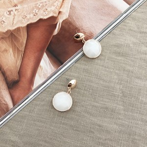 Facet Cut Button Top Earrings