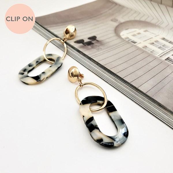 Linked Resin Metal Clip On Earrings