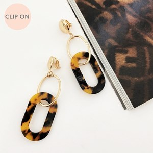 Linked Resin Metal Clip On Earrings