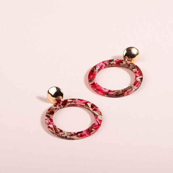 Lila Circle Resin Metal Earrings