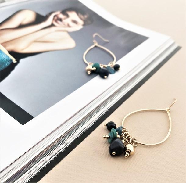 Stone Chips Teardrop Hook Earrings