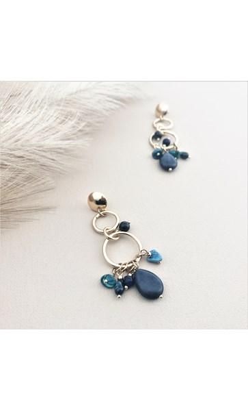 Stone Rings Button Earrings