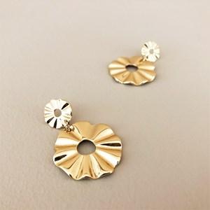 Corrugated Ring Drop Earrings
