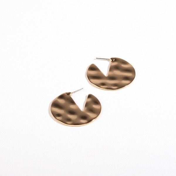 Beaten Metal Curved Front Earrings
