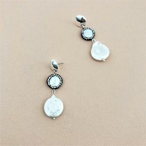 Diamante Edged Baroque Pearl Earrings