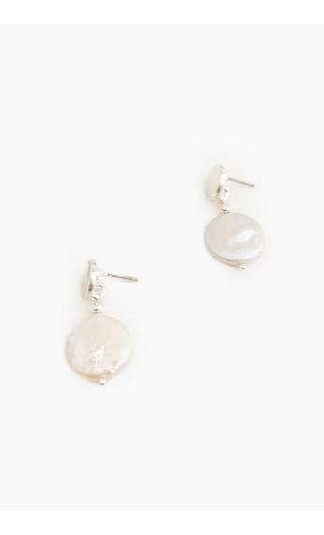Disc Pearl Drop Earrings
