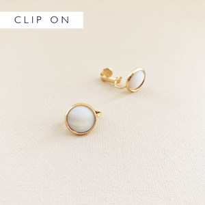 Metal Edged Shell Clip On Earrings