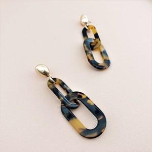 Metal Top Resin Links Earrings