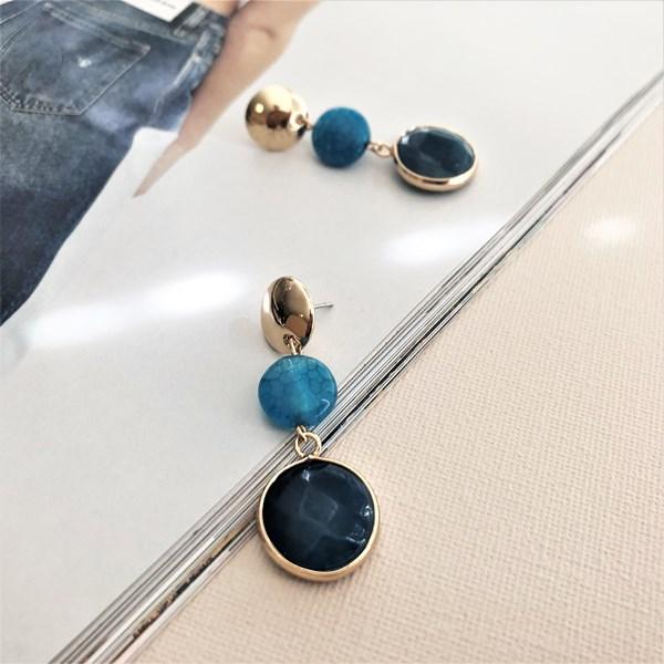 Natural Stone Metal Top Drop Earrings
