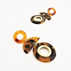 Crescent Circles Resin Metal Earrings