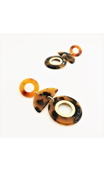 Crescent Circles Resin Metal Earrings