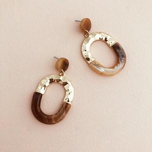 Half Resin Metal Oval Drop Earrings