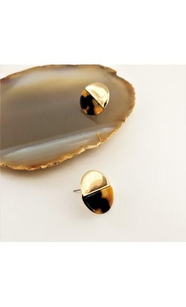 Half Resin Metal Stud Earrings