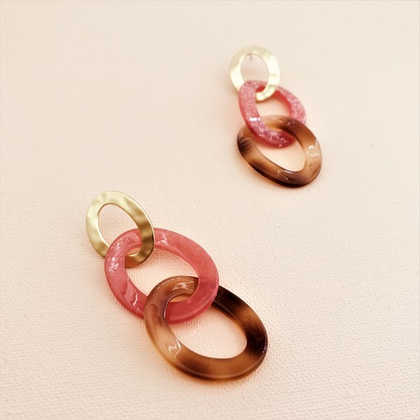 Linked Resin Button Top Earrings