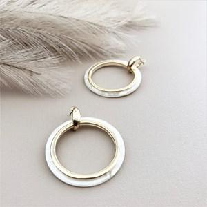 Metal Lined Resin Circle Earrings