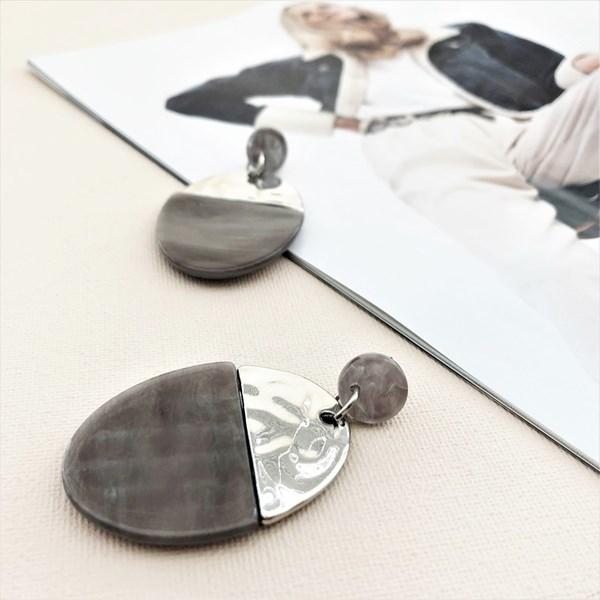 Metal Resin Half Circle Earrings
