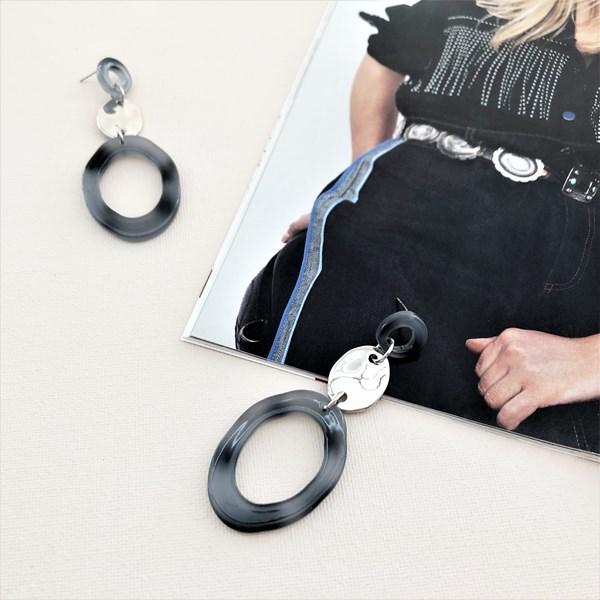 Metal Resin Ring Earrings