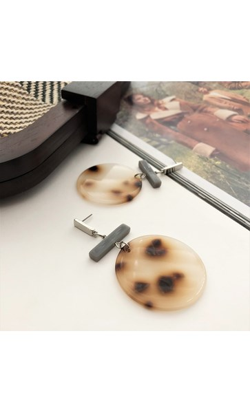 Resin Large Disc Rod Earrings