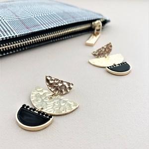 Crescent Metal Resin Earrings
