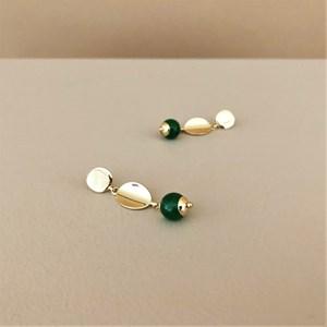 Metal Button Stone Drop Earrings