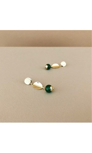 Metal Button Stone Drop Earrings