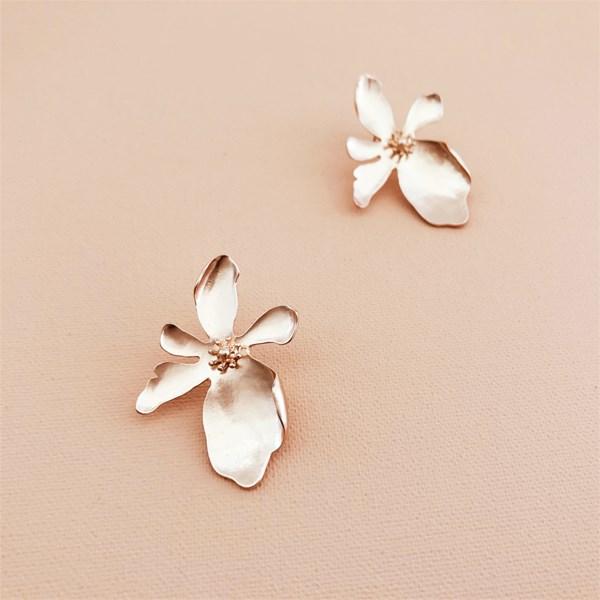 Metal Orchid Stud Earrings