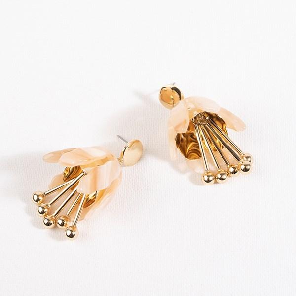 Resin Metal Tulip Drop Earrings