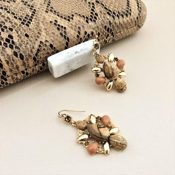 Stone Jewel Hook Top Earrings