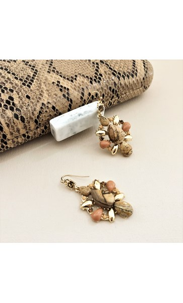 Stone Jewel Hook Top Earrings