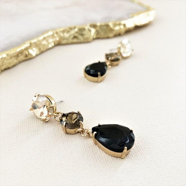 Tri Jewel Drop Earrings