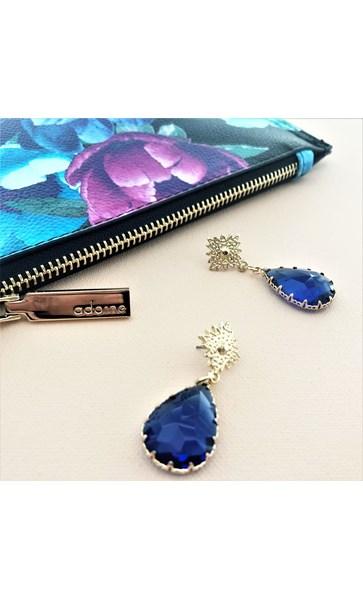 Claw Edged Jewel Metal Earrings