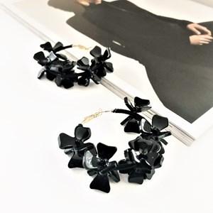 Resin Floral Hoops Earrings