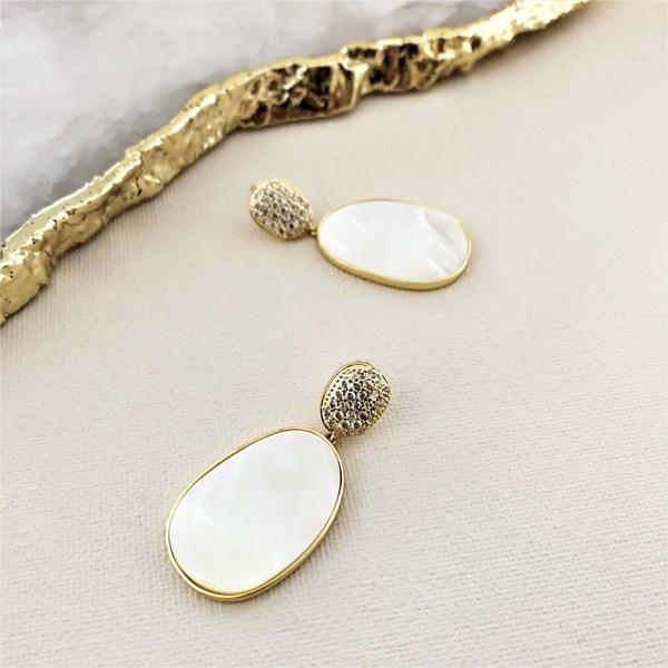 Shell Metal Edged Diamante Earrings