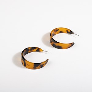 Small Wide Resin Hoop Front Earrings