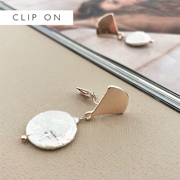 Curved Metal Top Disc Pearl Clip On Earrings