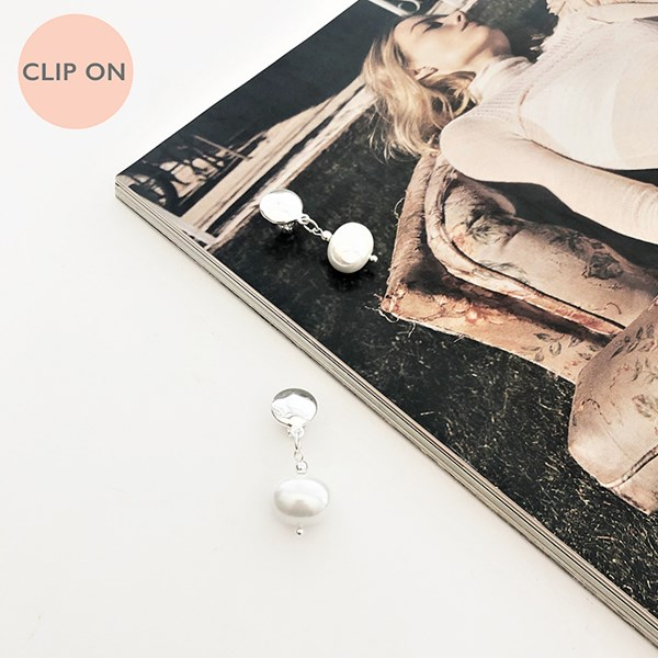 Button Top Shell Pearl Clip On Earrings