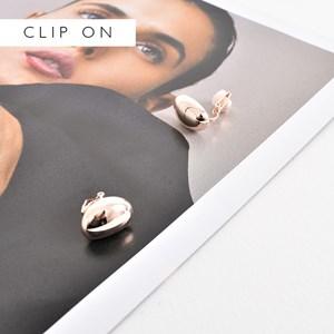 Metal Oval Disc Clip On Earrings