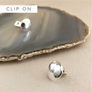 Button Top Metal Clip On Earrings