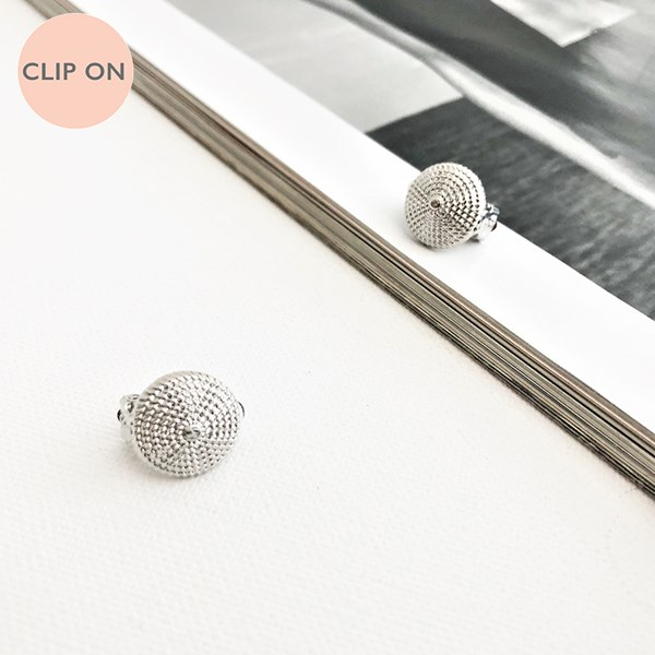 Patterned Clip On Disc Earrings