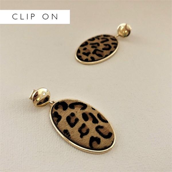 Metal Button Hide Oval Clip On Earrings